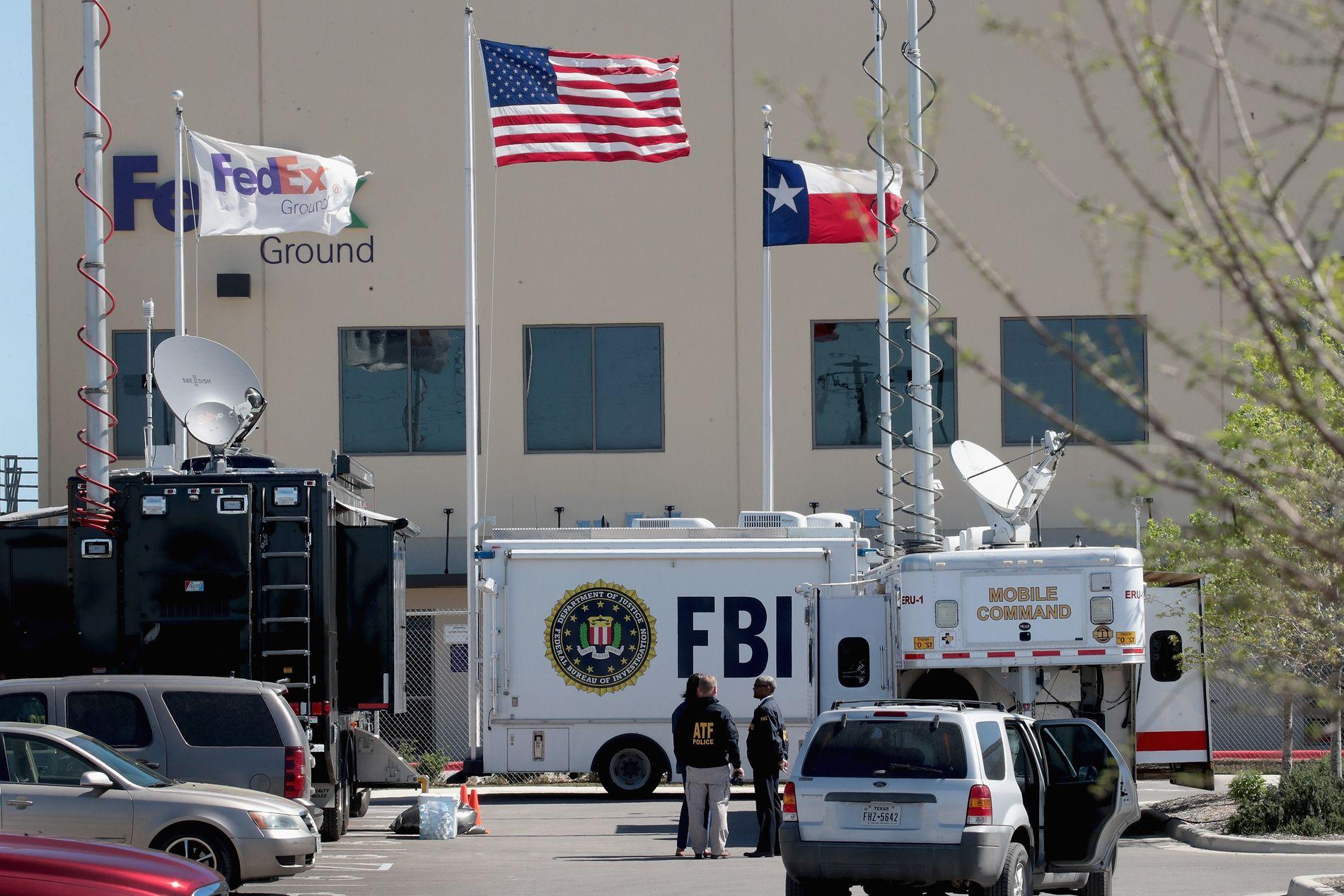 ÅSTED: Ved dette distribusjonssenteret i Schertz utenfor Austin gikk det av en pakkebombe natt til tirdag.