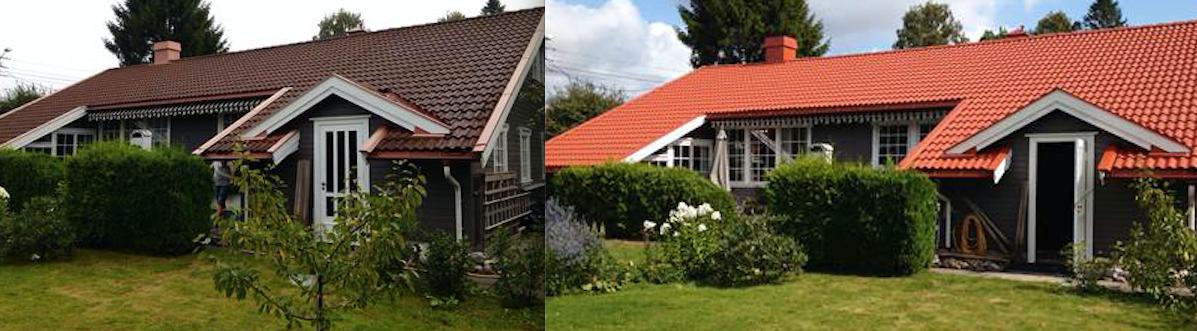 FØR OG ETTER: Ikke vanskelig å se forskjellen på gammelt og nytt tak. Om du ønsker, kan du også benytte anledningen til å endre farge på taket ditt.