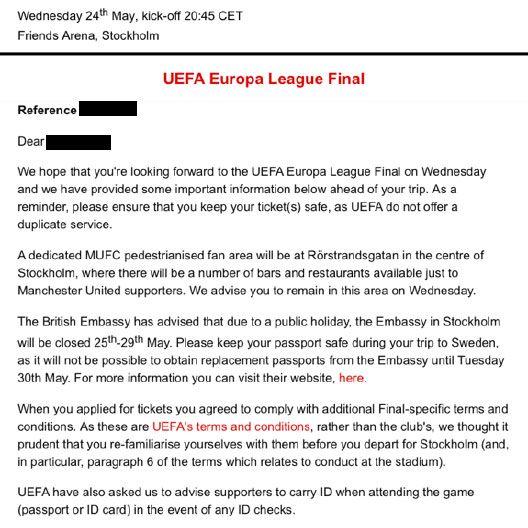 SENDT UT BREV: Manchester United har sendt ut følgende brev til de supporterne som har kjøpt billett gjennom klubben.