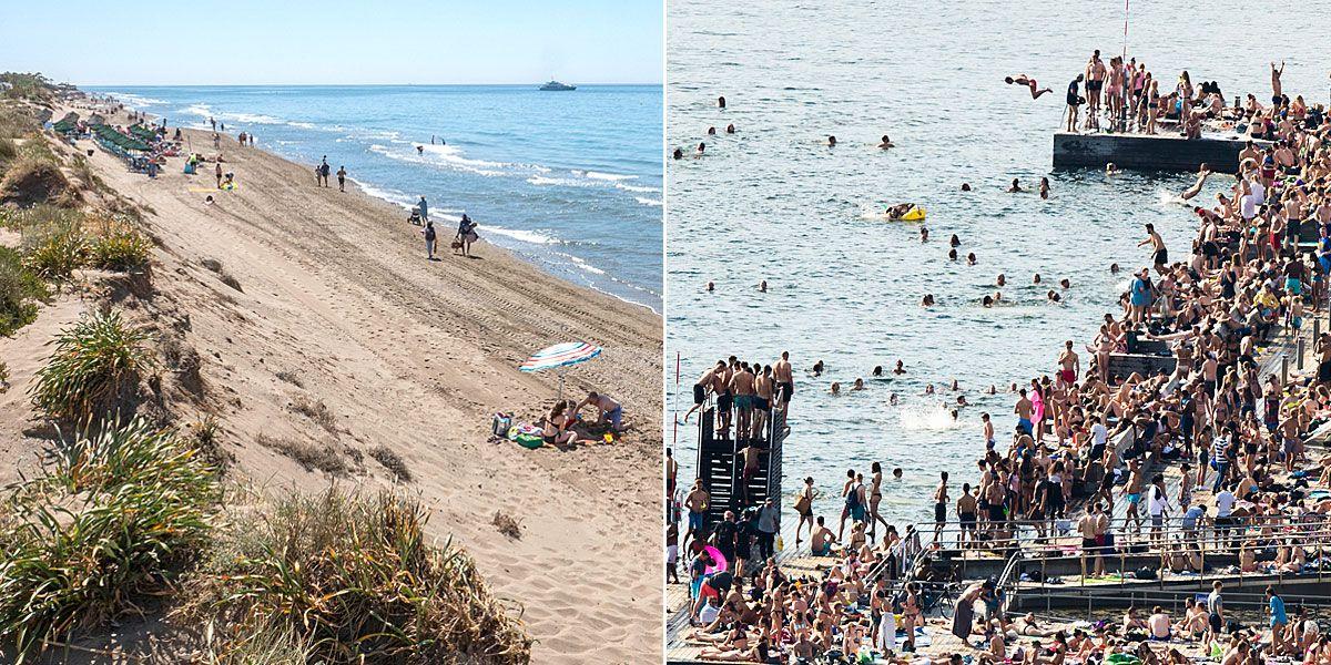 KONTRAST: Slik så det ut på Elviria-stranden ved Marbella i Spania torsdag (til venstre) – og på Sørenga i Oslo onsdag kveld.