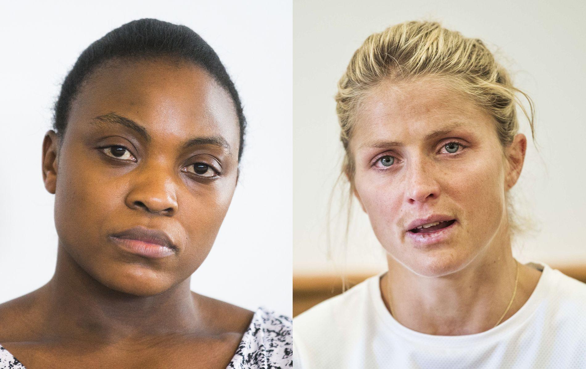 HVOR LIKE ER DE? Vektløfter Ruth Kasirye møter pressen i april 2016, etter at hennes positive dopingprøve ble kjent. Skistjernen Therese Johaug var i Seiser Alm da hun fikk den endelige dommen i sin dopingsak.