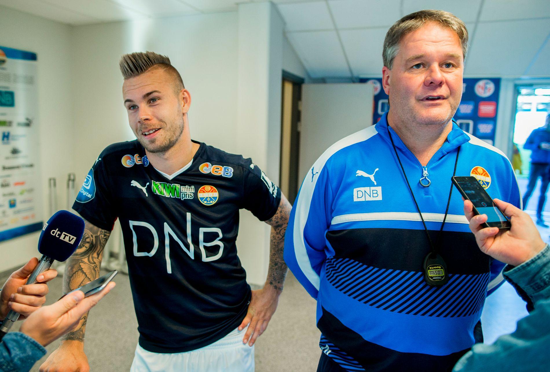 DYNAMISK DUO: Marcus Pedersen og Bjørn Petter Ingebretsen er sammen en uslåelig duo. Her etter en 1–0-seier over Stabæk i cupen i 2016.