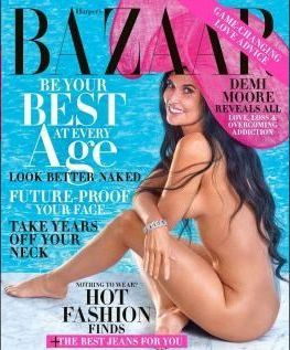 KASTER KLÆRNE: Demi Moore kaster klærne i oktoberutgaven av Harper's Bazar.