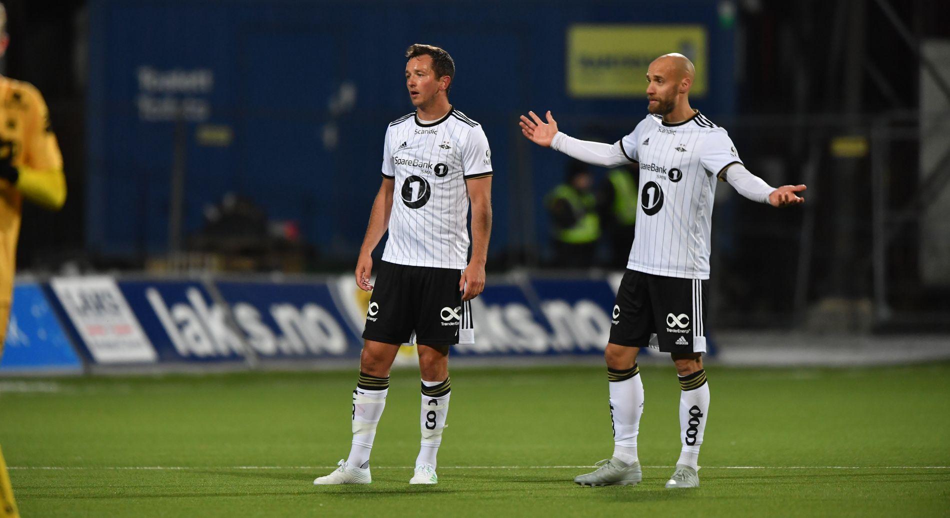 OPPGITT: RBKs stopperduo Even Hovland (t.v.) og Tore Reginiussen måtte se eget lag slippe inn to i Bodø.