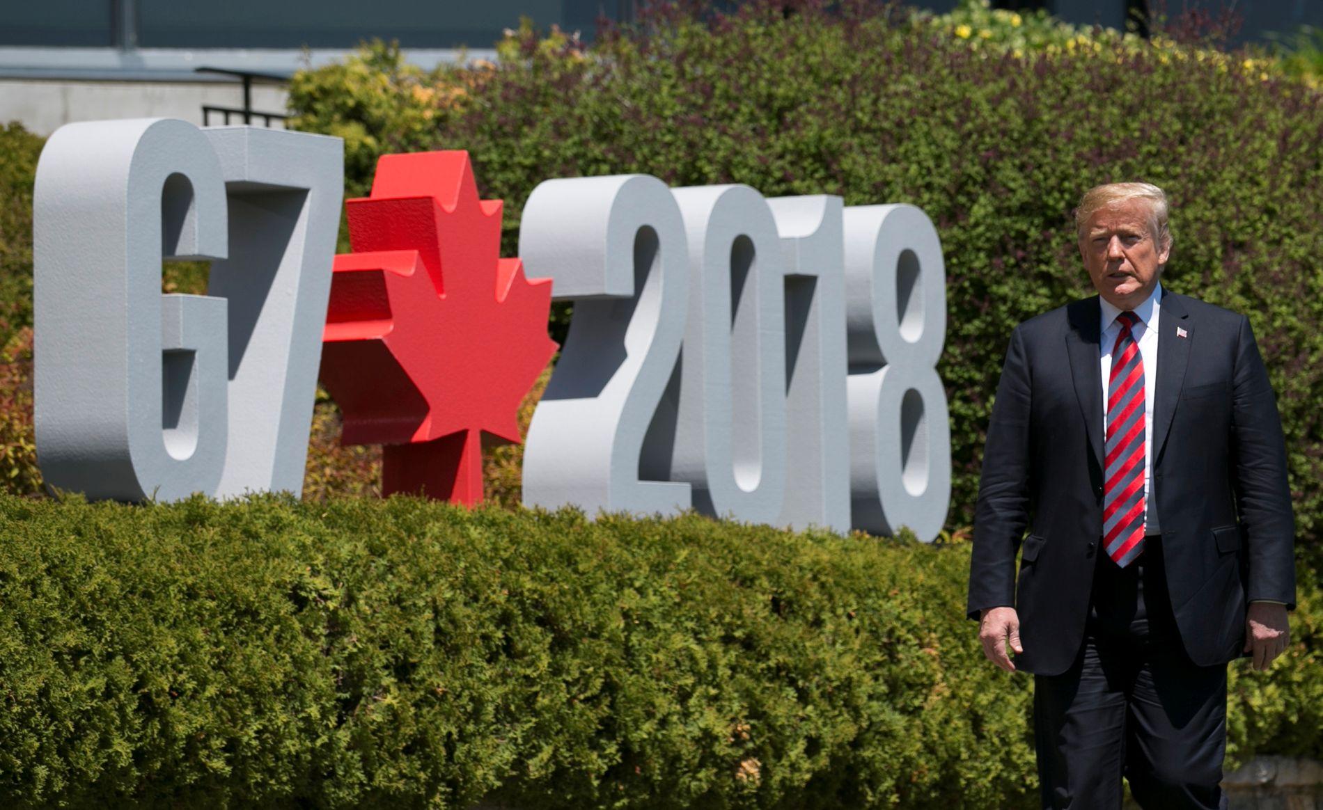 SINT PRESIDENT: En morsk Donald Trump skapte bruduljer da han helt overraskende trakk den amerikanske støtten til slutterklæringen etter G-7 møtet i Canada.