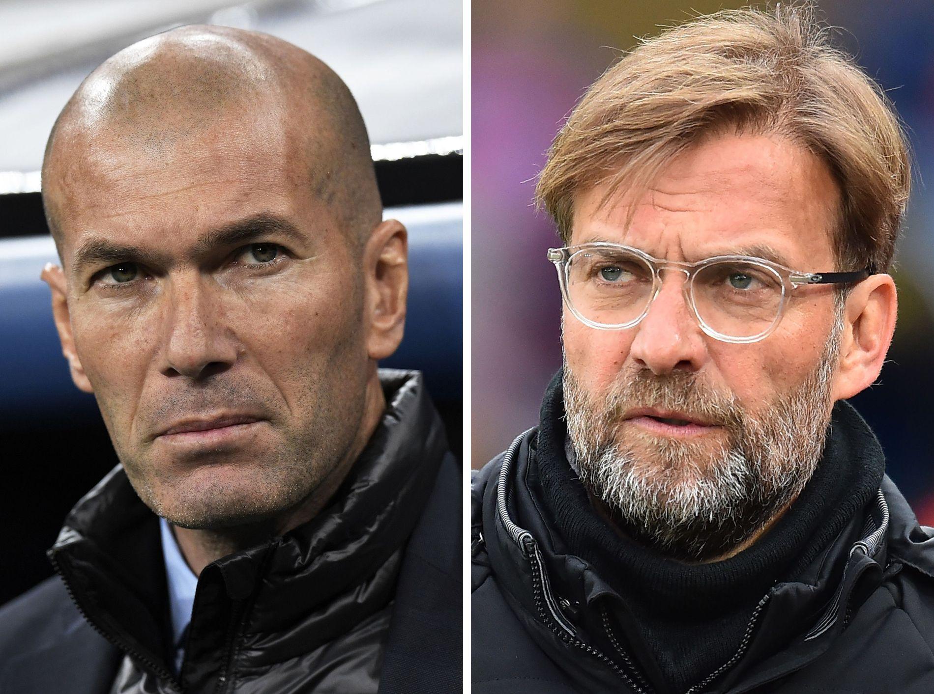 TUNGVEKTER-MØTE: Lørdag møtes Zinédine Zidane (t.v.) og Jürgen Klopp i Champions League-finalen.