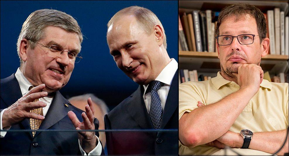 KRITISK: Journalist Hajo Seppelt (t.h.) avslørte det russiske bedraget. Han mener tirsdagens «dom» er et PR-stunt fra IOC og Russland. Thomas Bach (t.v.) avviste tirsdag at han har diskutert saken personlig med Vladimir Putin (midten).