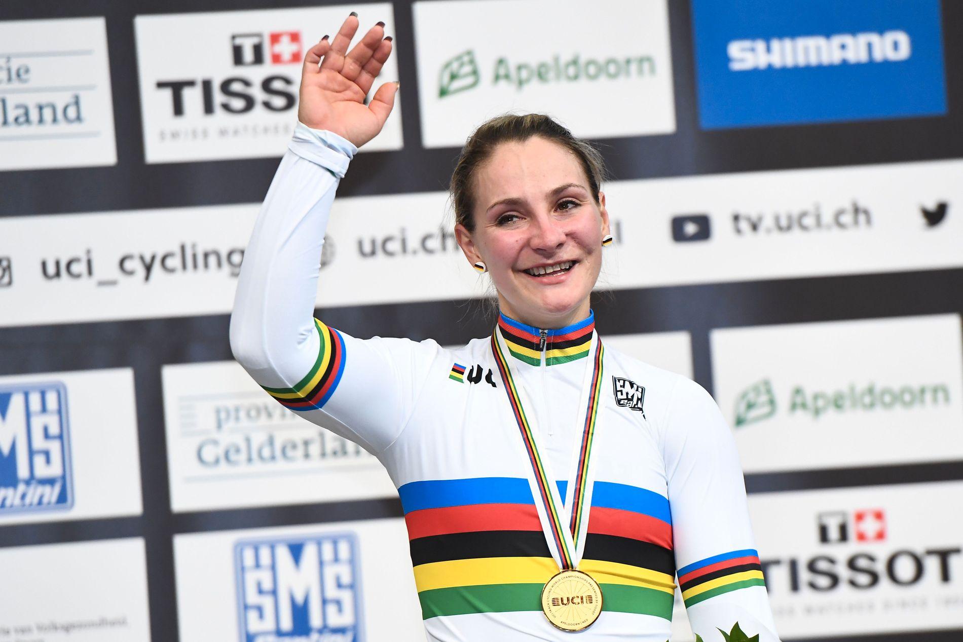 SISTE GULL: Kristina Vogel ble verdensmester i banesykling i mars i år (bildet). I juni krasjet tyskeren med en annen syklist og ble lam.