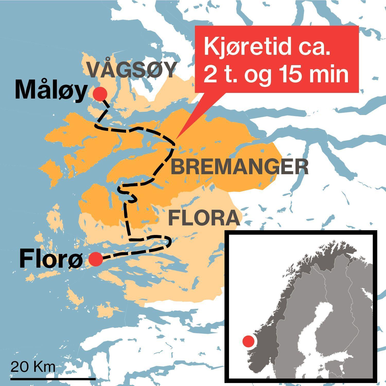 DELT: Nye Kinn kommune blir liggende delt på hver sin side av Bremanger kommune dersom Vågsøy og Flora kommuner slås sammen i 2020.