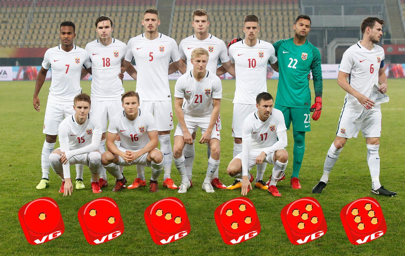 KARAKTERBOK: VG har vurdert de 33 spillerne som har fått spille under Lars Lagerbäck i 2017. Her er lagbildet før kampen mot Makedonia. Grafikk: Knut Arne Hansen.