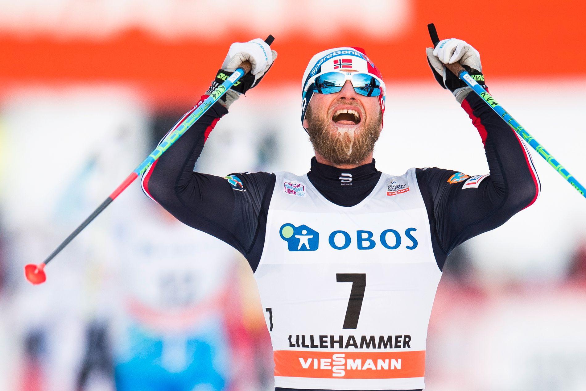 TRIUMFATOR: Martin Johnsrud Sundby knuste alle i det siste bratte partiet på 15-kilometeren, og gikk inn til seier i Lillehammer-minitouren.
