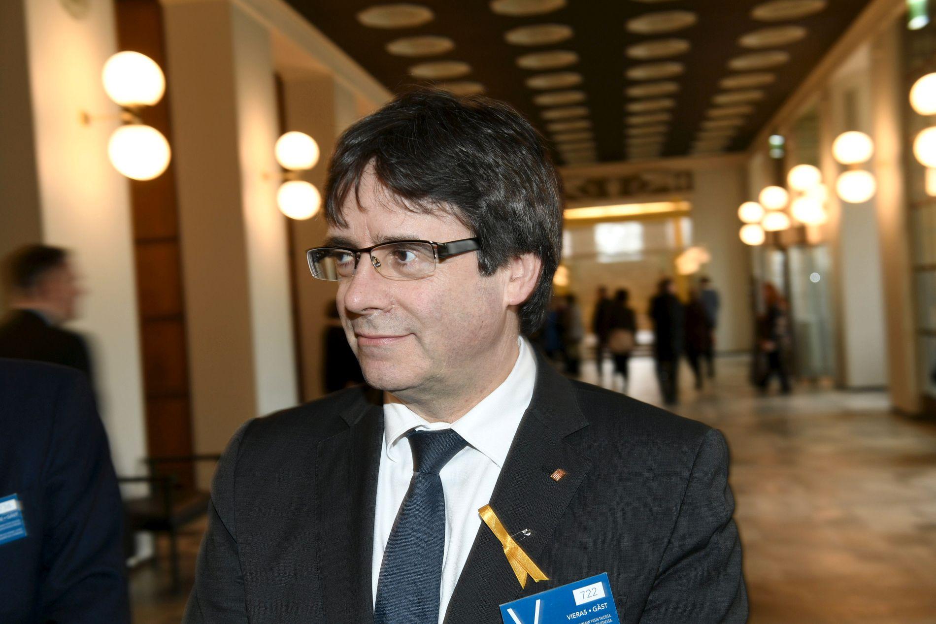 FINSK VISITT: Den katalanske eks-presidenten er fengslet av tysk politi. Bildet er tatt under et besøket på det finske parlamentet i Helsingfors torsdag.