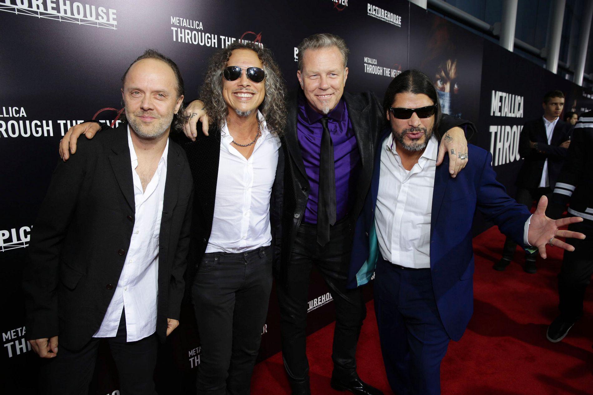 NYTT ALBUM: Åtte år etter «Death Magnetic» er Metallica igjen klare med nytt album. Her er Lars Ulrich, Kirk Hammett,  James Hetfield og Robert Trujillo på filmpremiere i 2013.