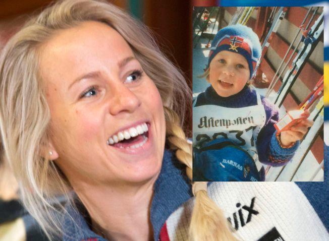 FRA TRIUMF TIL TRIUMF: Da Tiril Eckhoff gikk sitt aller første skirenn, så hun ut som på bildet som er innfelt. Nå er hun landslagsløper, og skal kjempe om verdensmestertitler.