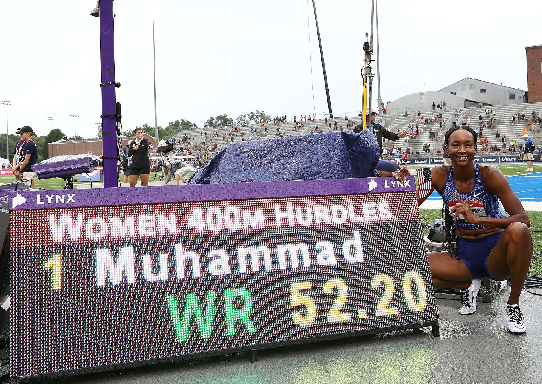 REKORD-GLAD: Dalilah Muhammad (29) satte verdensrekord på 400 meter hekk i Iowa 27. juli.