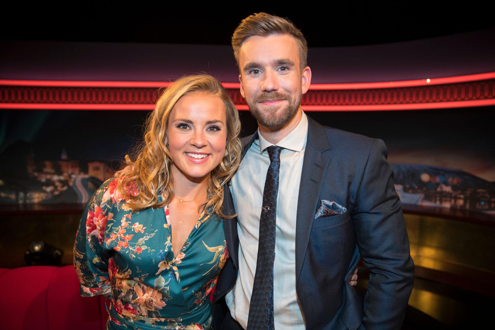 PREMIERE: Helene Olafsen og Stian Blipp spilte inn premieren av nye «Senkveld» torsdag.