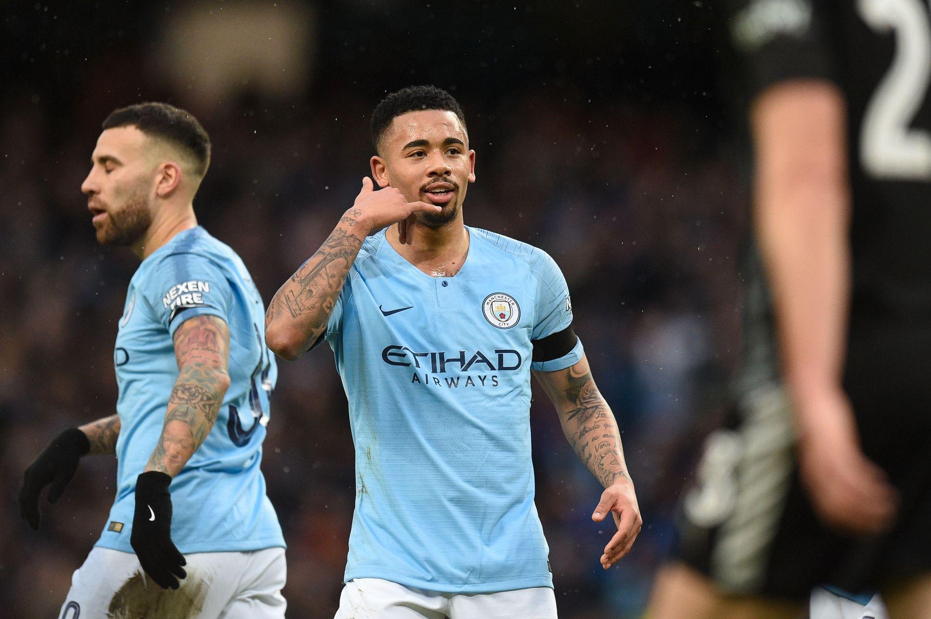 JESUS REDDER: Gabriel Jesus feirer etter å ha satt inn 1–0 mot Burnley etter en flott soloprestasjon.