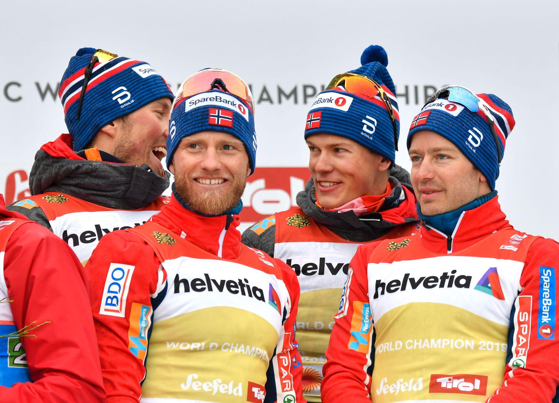 FÅR TROLIG GÅ I NORGE: De norske landslagsløperne, her representert med Emil Iversen, Martin Johnsrud Sundby, Johannes Høsflot Klæbo og Sjur Røthe, får mest sannsynlig oppleve VM i Trondheim om seks år.