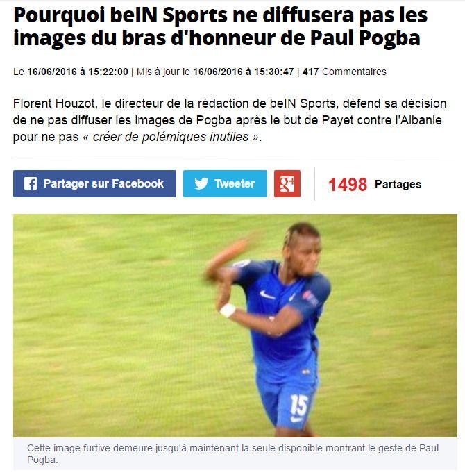 UP YOURS!: Sportsavisen L'Équipe har valgt å publisere en skjermdump av denne gesten til Paul Pogba, som ikke ble vist under den offisielle TV-sendingen. Gesten tilsvarer bruken av langefingeren i Norge.