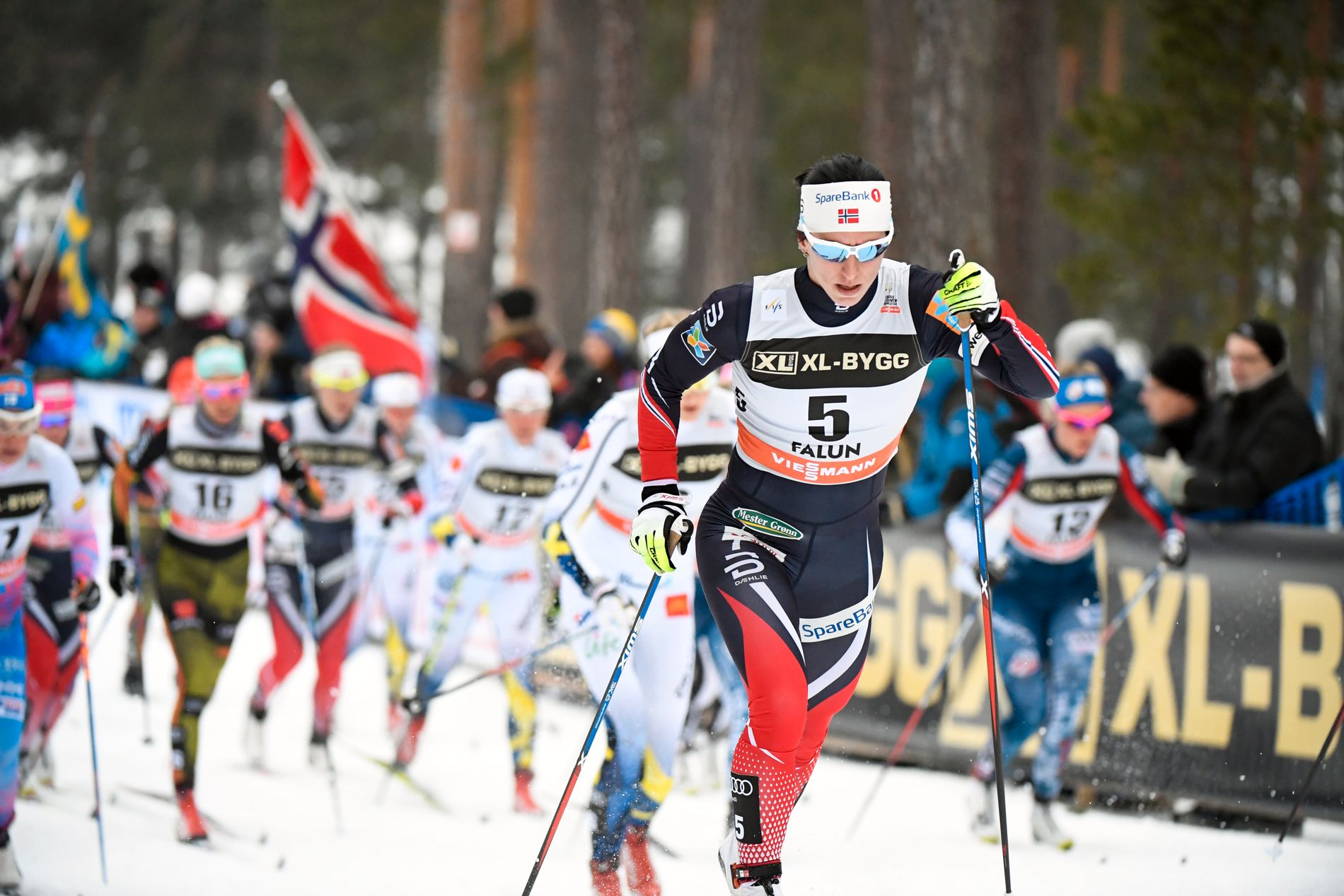 HERJET HOS SÖTA BROR: Marit Bjørgen, her fra 10 kilometeren i Falun søndag, som hun til slutt vant.
