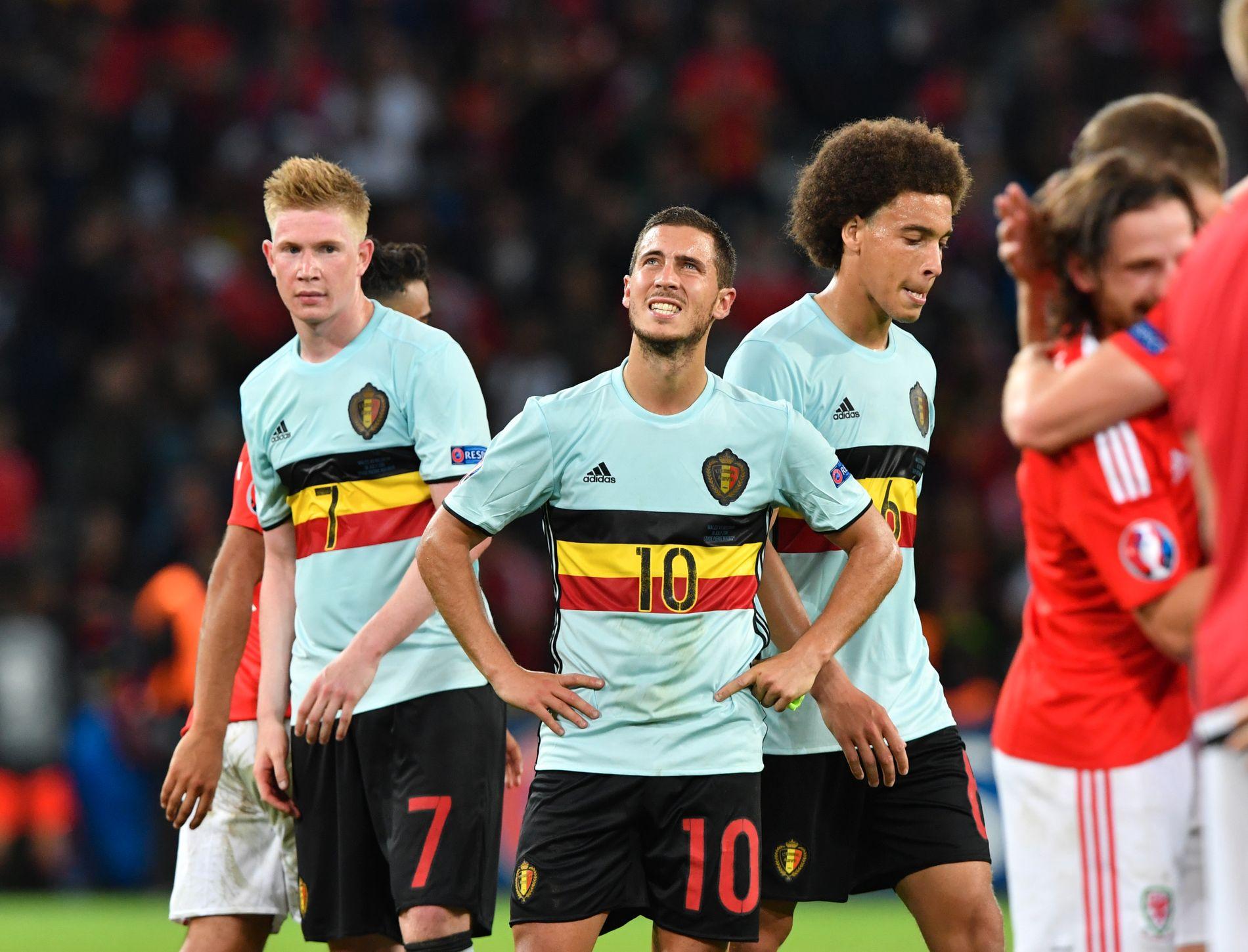 SKUFFELSEN: Kevin De Bruyne, Eden Hazard og Axel Witsel viser sin skuffelse etter EM-exiten mot Wales.