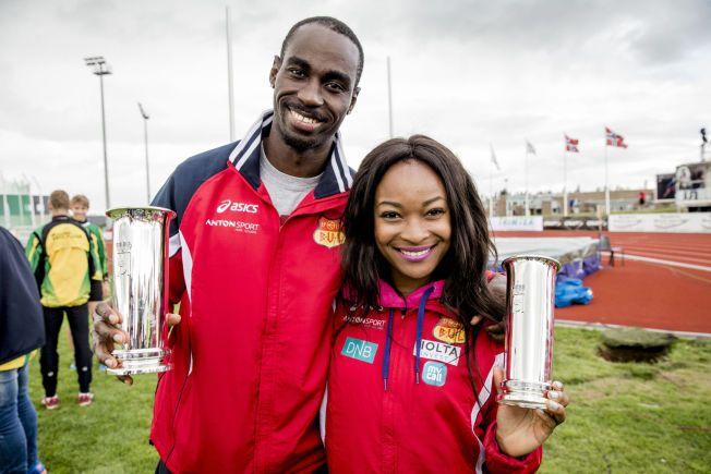 DOBBELTRIUMF: Jaysuma Saidy Ndure og Ezinne Okparaebo, her fotografert under friidretts-NM på Jessheim i fjor, sesongåpnet begge med seier i 100 meter i Belgia.