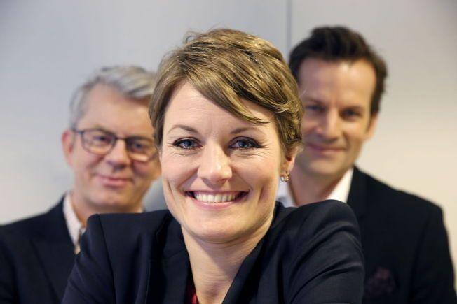 NYE GJENGEN: Pernille Sørensen tok over laglederjobben etter Ingrid Gjessing Linhave i vår. Her sammen med kollegaene Jon Almaas og Knut Nærum.