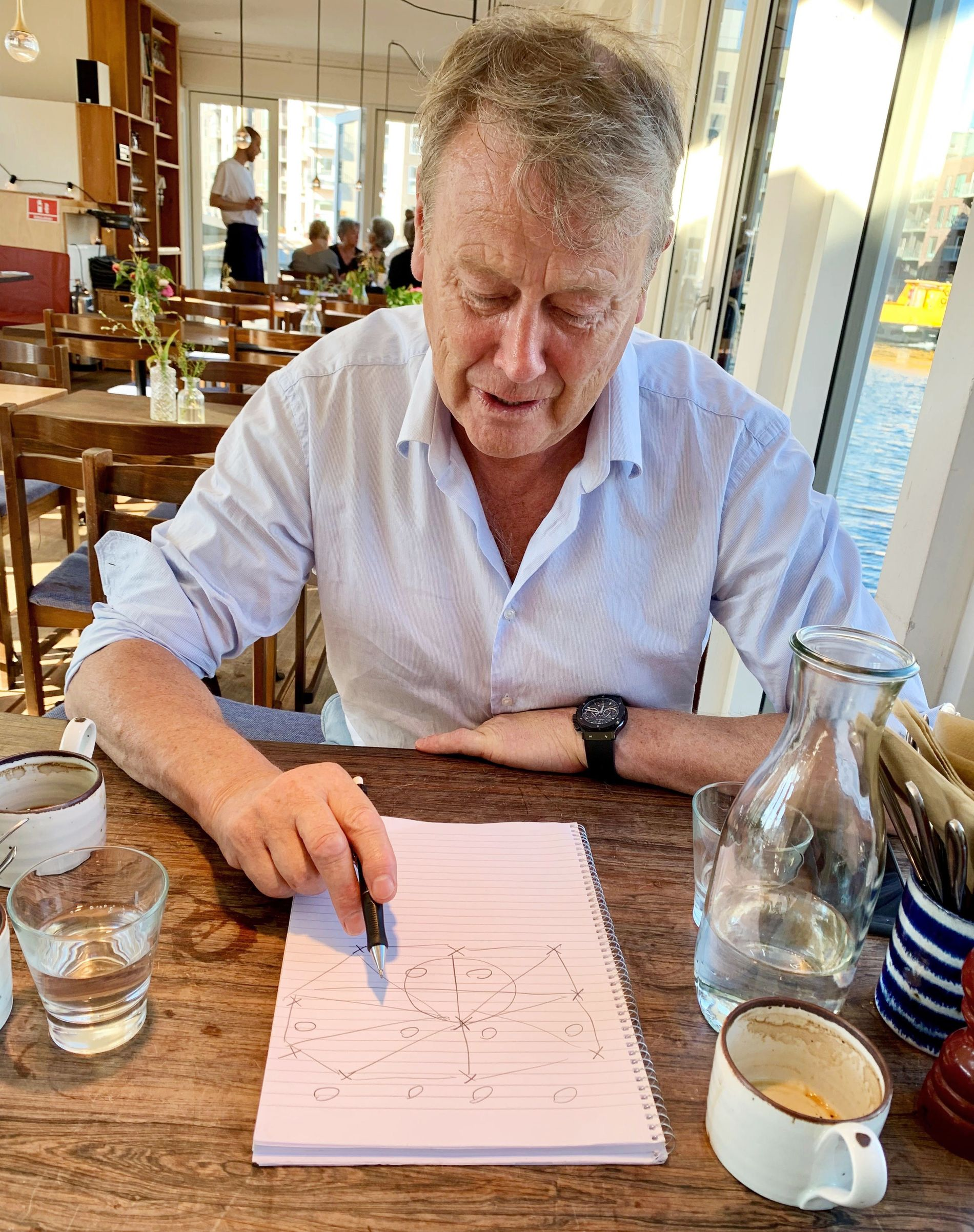 TEGNER: Åge Hareide forklarer VGs landslagskommentator hvordan det danske landslaget spiller fotball.
