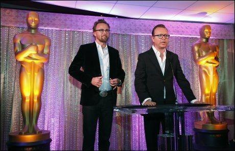 I GODT SELSKAP: «Kon-Tiki»-regissørene Joachim Rønning og Espen Sandberg på en mottakelse for de nominerte for beste fremmedspråklige film. Foto: Reuters