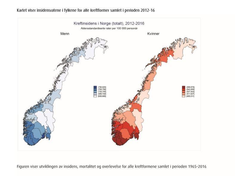 FRA RAPPORTEN: Rapporten Cancer in Norway 2016, ble offentliggjort av Kreftregisteret mandag. Ifølge rapporten ble det registrert 32.827 nye tilfeller kreft i Norge i fjor.
