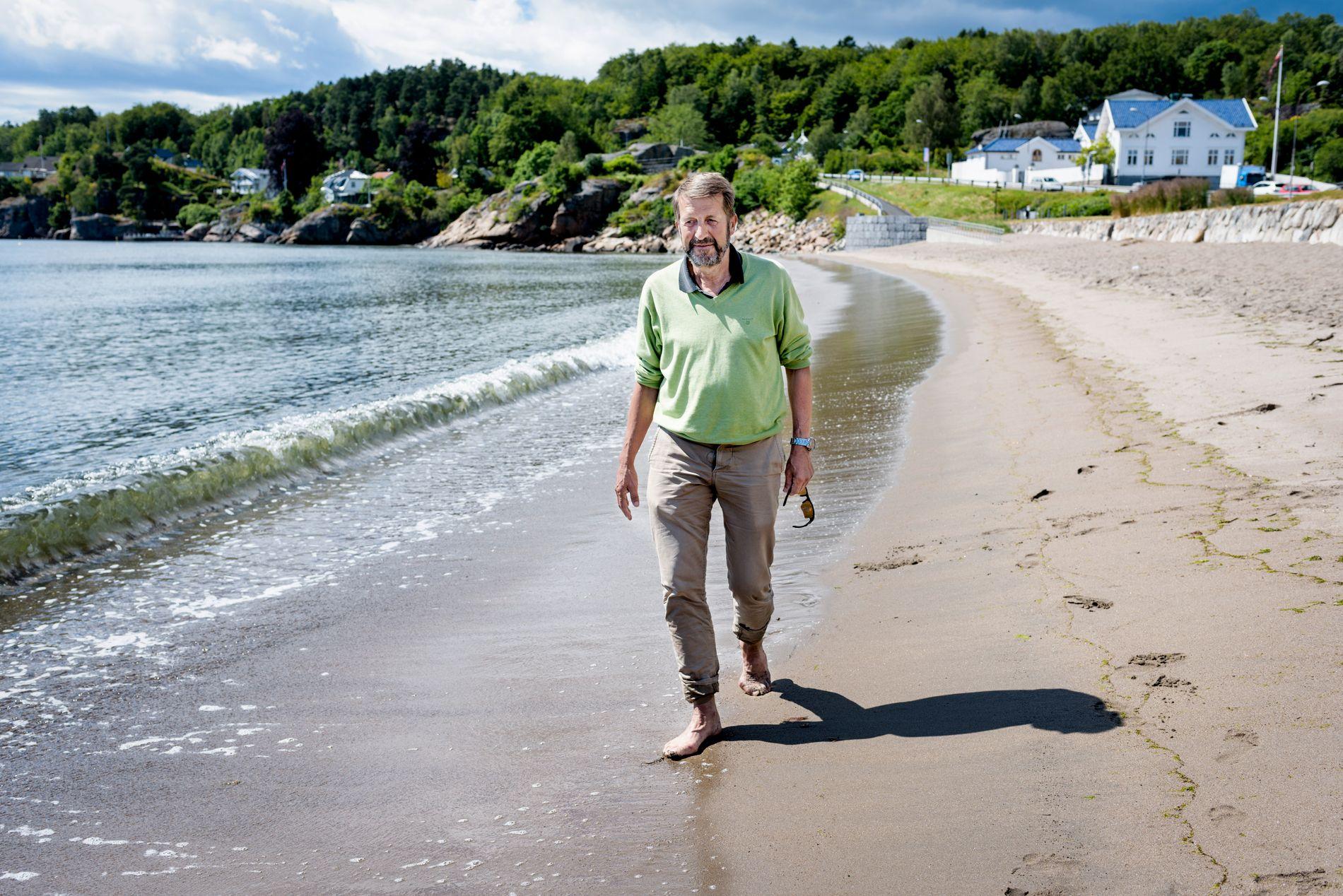 BEKYMRET: Jacob Hygen har blodkreft, og ble frisk med ny kreftmedisin. Her i Larvik.
