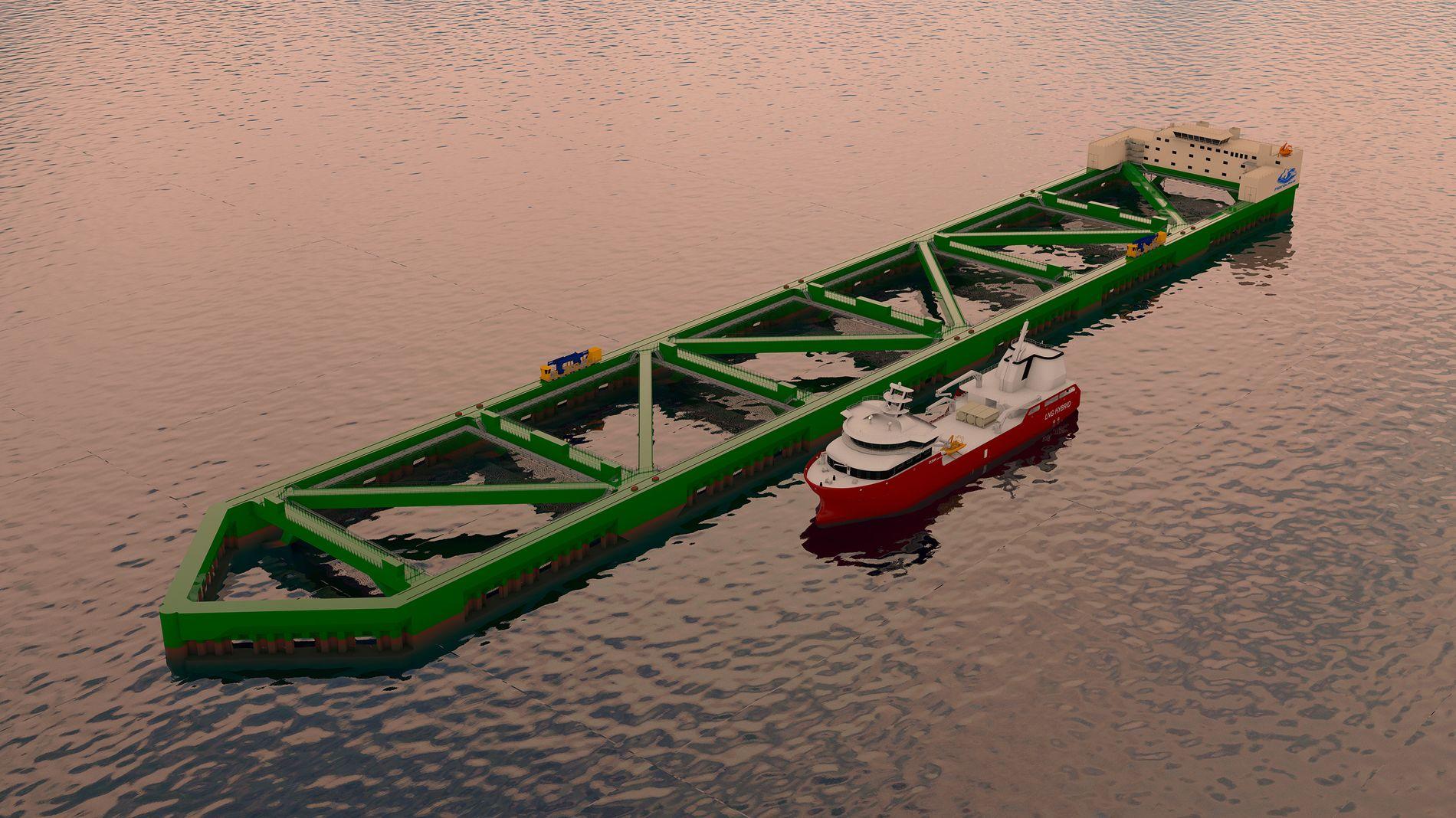 INVESTERINGER: Illustrasjonen viser havfarmen som Nordlaks bygger. Totalt skal oppdretteren investere 4–5 milliarder kroner i utvikling av ny teknologi og produksjonsmåter.