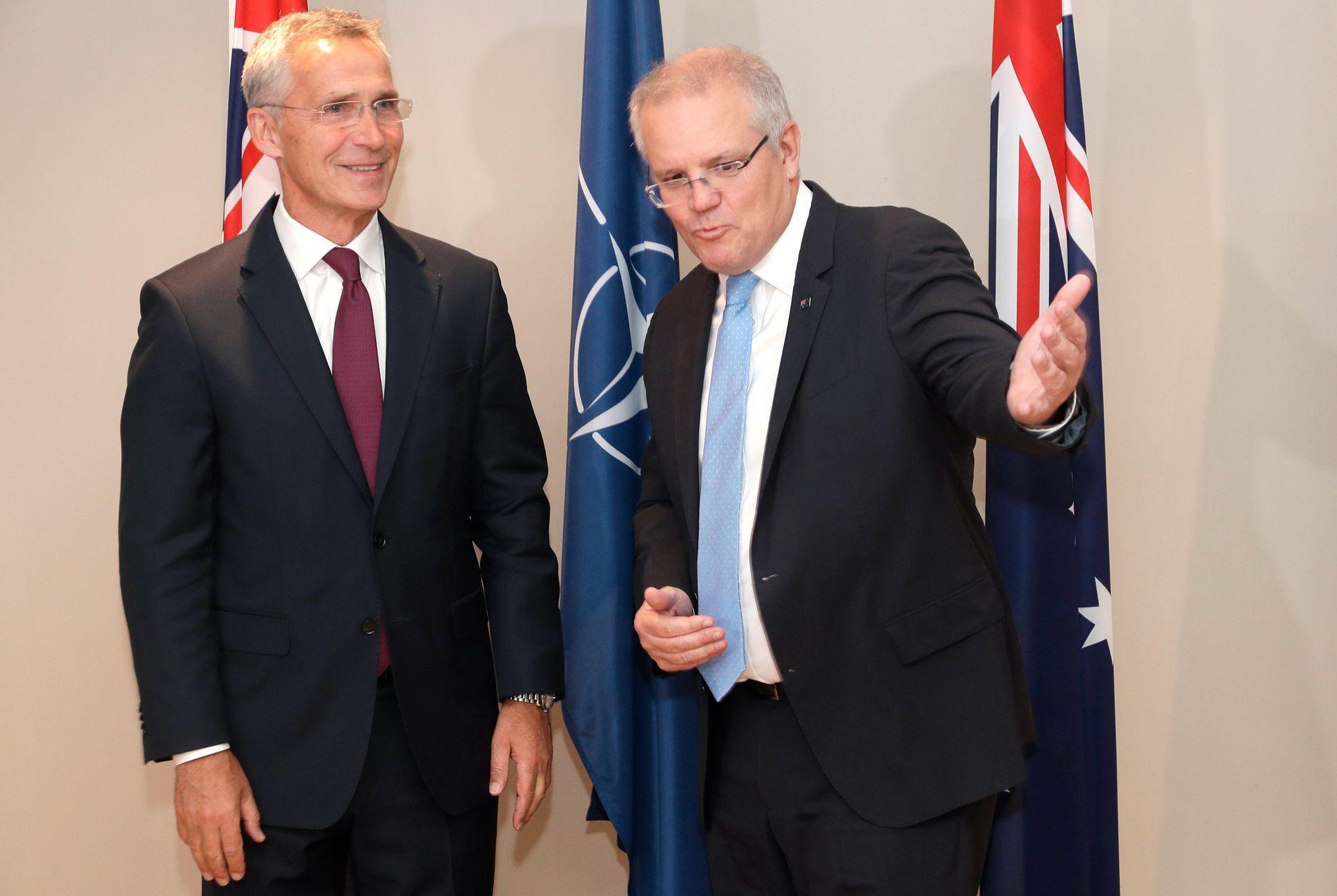 Australias statsminister Scott Morrison møtte onsdag NATOs generalsekretær Jens Stoltenberg i Sydney.