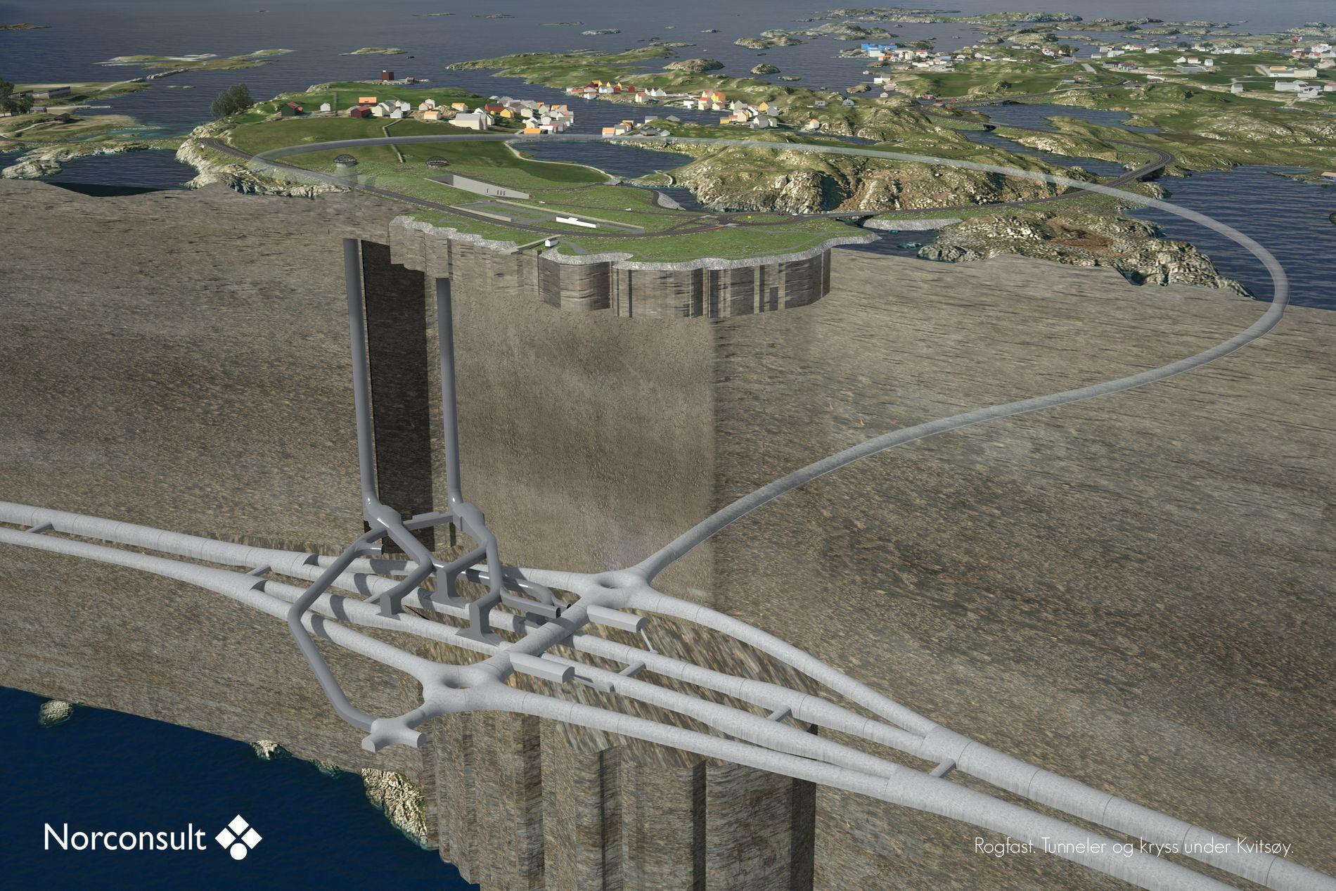 FOR DYRT? Gigantprosjektet Rogfast til nesten 17 milliarder kroner er en del av «Ferjefri E39». Teknologiutvalget mener at slik fjordkrysning kan være utdatert.