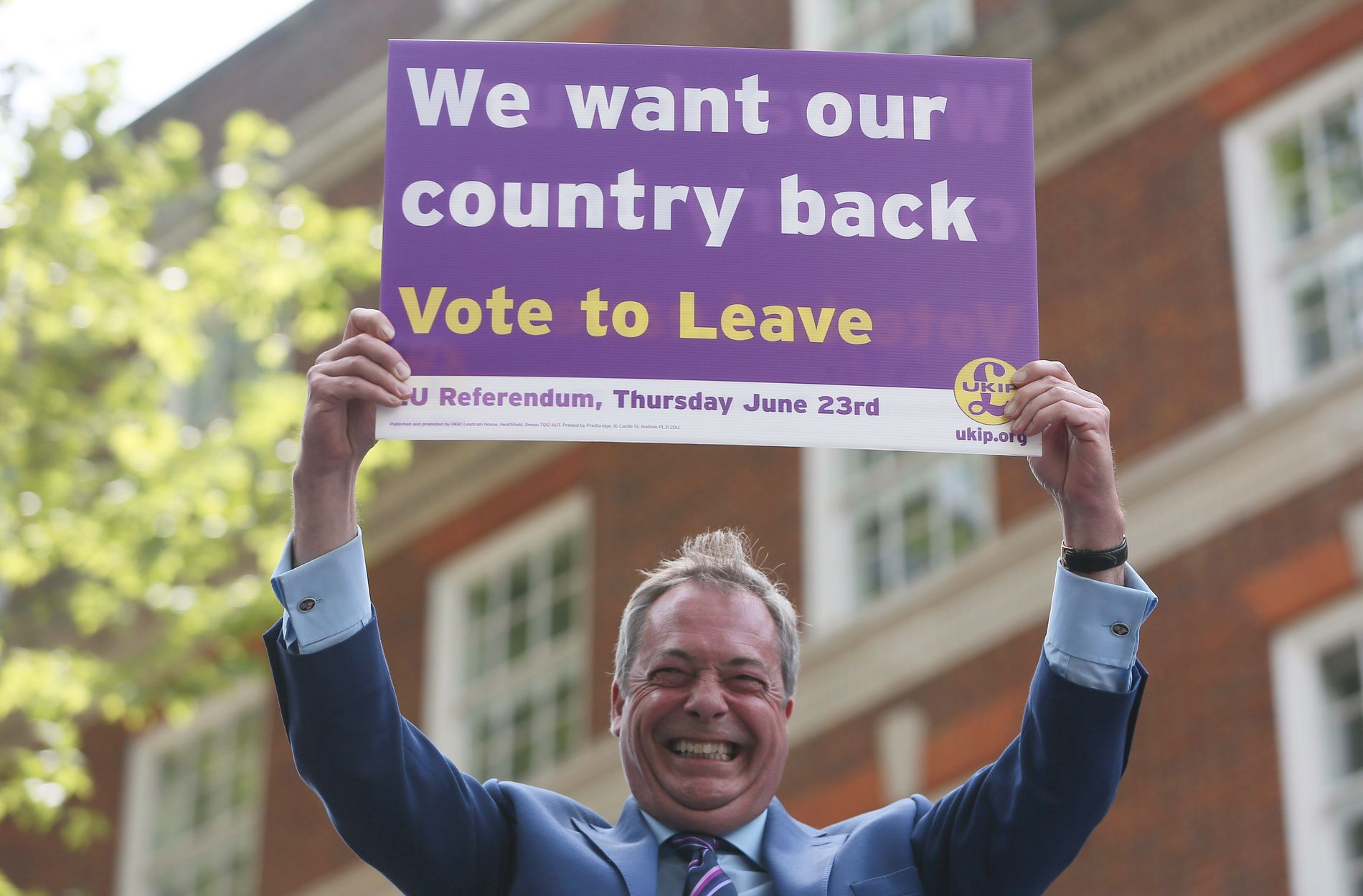 BREXIT: – Vi vil ha landet vårt tilbake, mener leder av United Kingdom Independence Party, Nigel Farage.