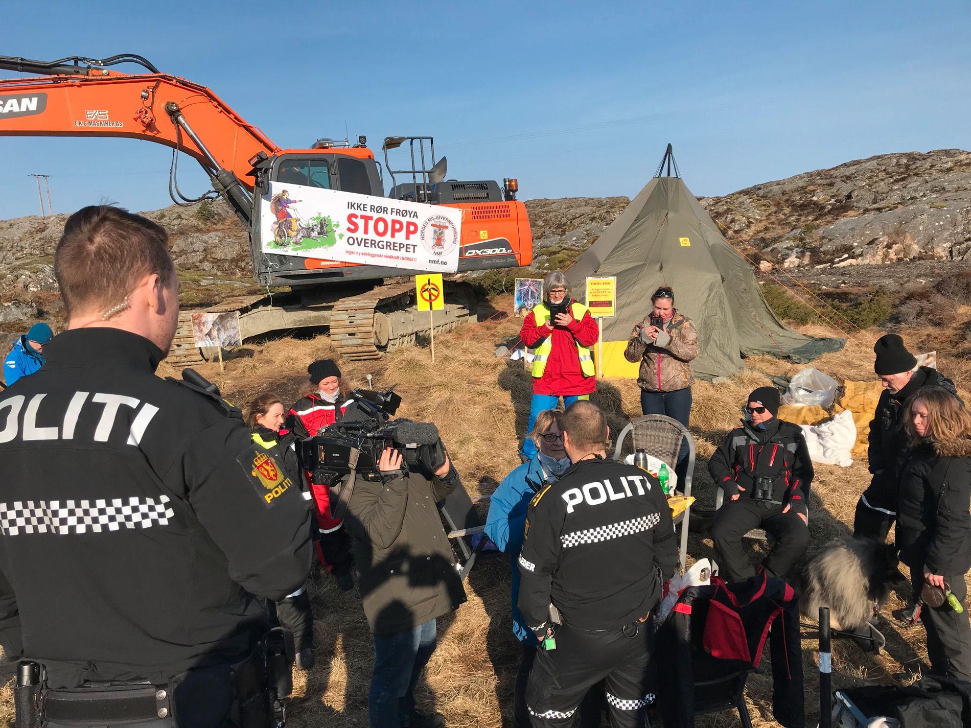 KONTAKTET POLITIET: Trønderenergi kontaktet tidligere denne uken politiet for å få fjernet det de mener er en ulovlig aksjon, uten at de forsvant da.
