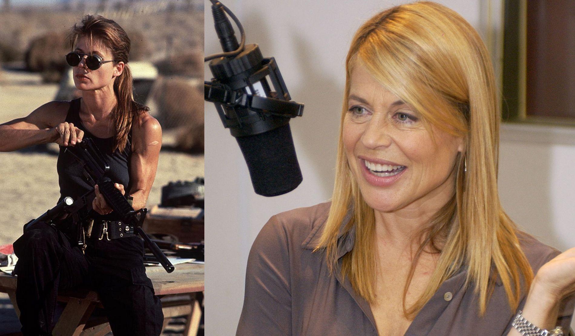 IKONISK: Linda Hamilton i «Terminator» (t.v.) og på et bilde fra noen år siden.