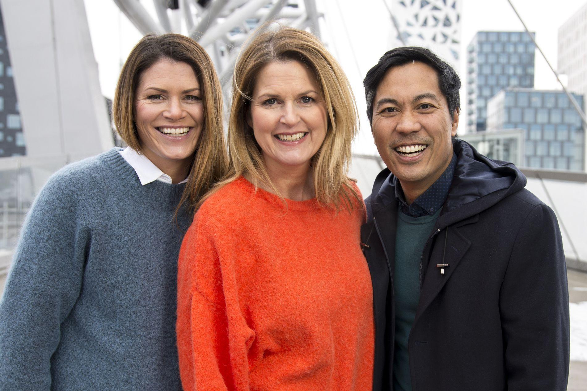 SLUTT: Trioen Pia Rivelsrud,  Marit Evertsen Grimstad og Christian Strand har vært programledere for «Forbrukerinspektørene» på NRK de siste årene. Men nå er det slutt.