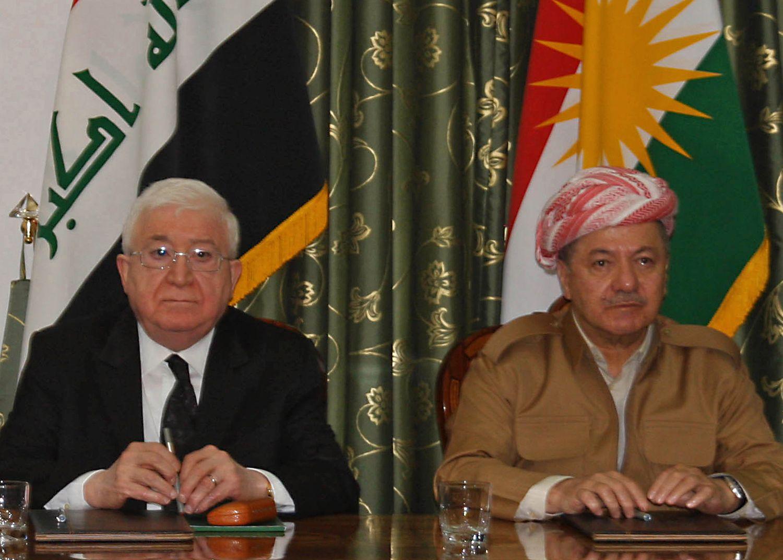 KRISEMØTE: Søndag møttes Iraks president Fuad Masum (t.v.) og KRGs president Masoud Barzani i Dokan, nordvest for storbyen Suleimaniya, i et forsøk på å avverge sammenstøt i Kirkuk. De lyktes ikke.
