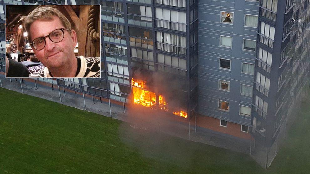 KRAFTIG BRANN: 2. oktober brant det kraftig i leiligheten hvor Terje Sjåberg (52) ble funnet død i Gamlegrensa i Skien. 4. oktober ble en mann siktet for drapet på ham.