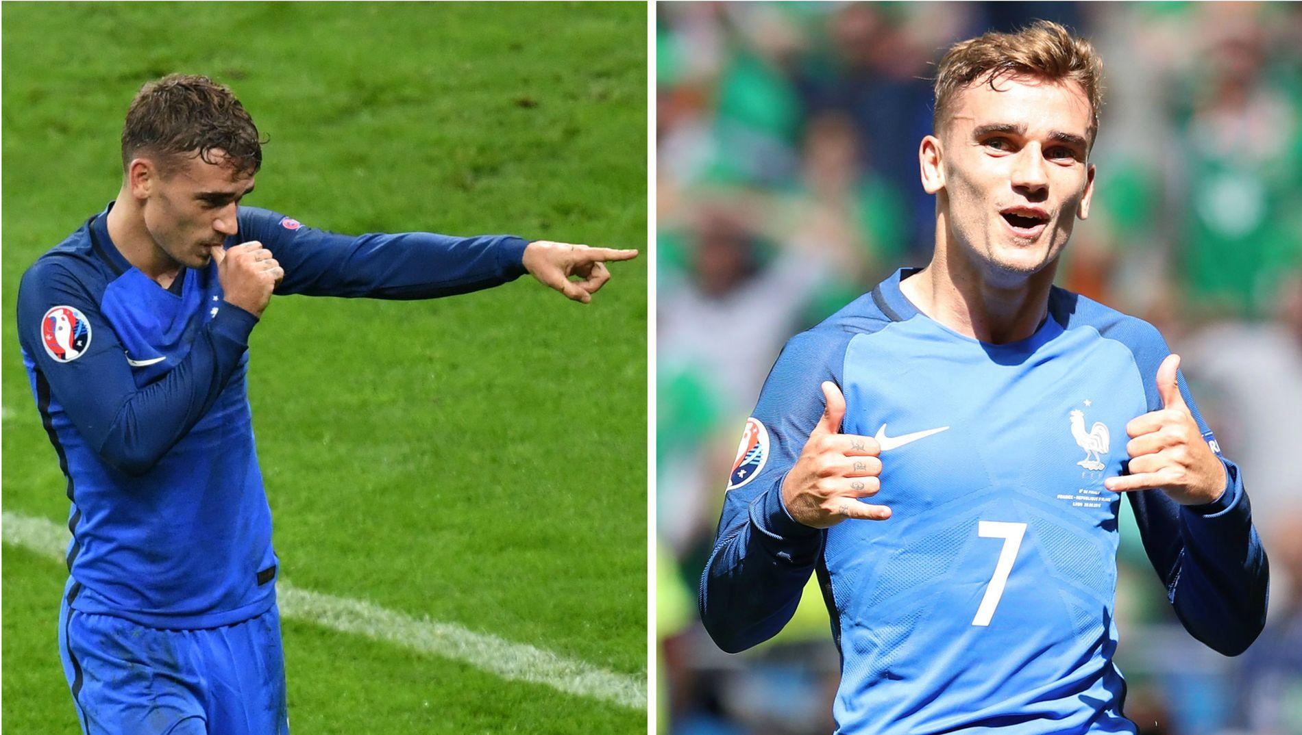 TOPPSCORER: Antoine Griezmann er EM-toppscorer med fire mål. Til venstre feirer han scoring mot Island, til høyre mot Irland.