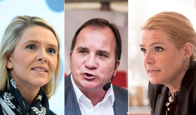 STRAMMER INN: F.v. Innvandringsminister Sylvi Listhaug, Sveriges statsminister Stefan Lövfen og Danmarks utlendingsminister Inger Støjberg.
