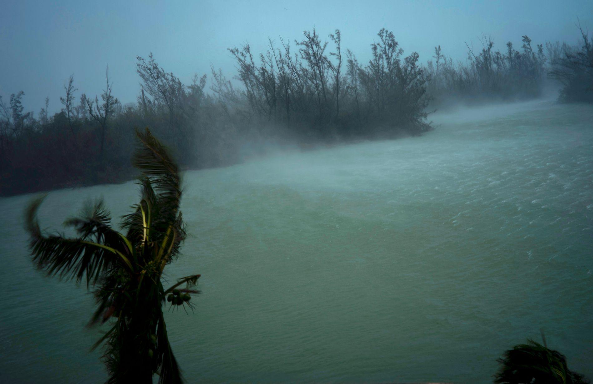 HEFTIG VIND: Uværet fotografert fra en balkong på et hotell i Freeport på Grand Bahama mandag.