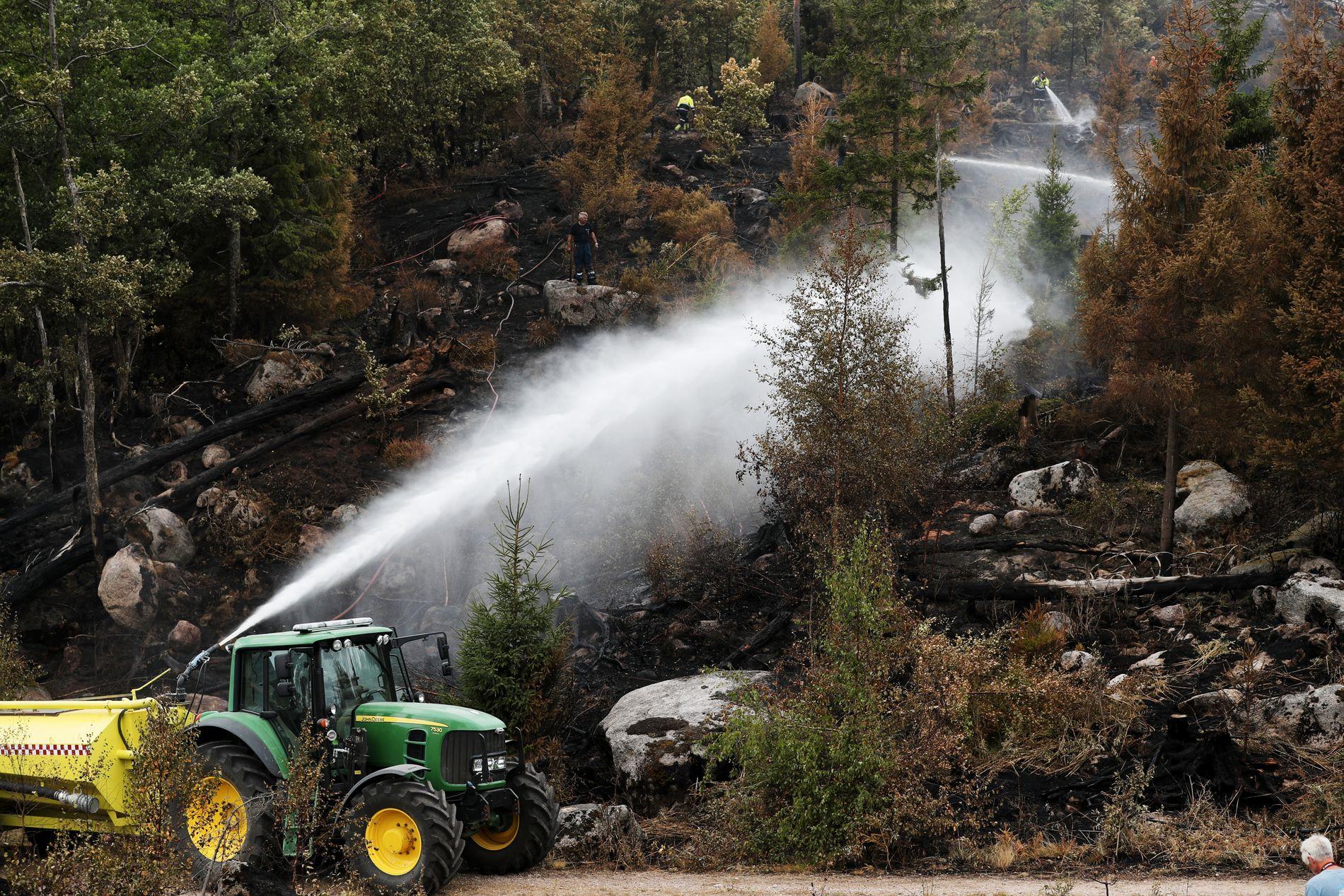 AUST-AGDER: En traktor med vannslange måtte til mot flammene i Birkenes kommune.