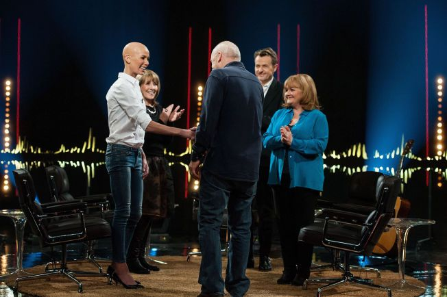 Vises fredag: Gunhild Stordalen gjestet Skavlan sammen med Jimmi Åkesson, Phyllis Logan, Lesley Nicol og Mark Knopfler.