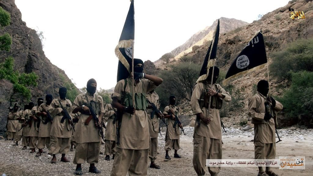 AQAP: A photo of fighters in AQAP, published by their official media arm al-Malahem Media.