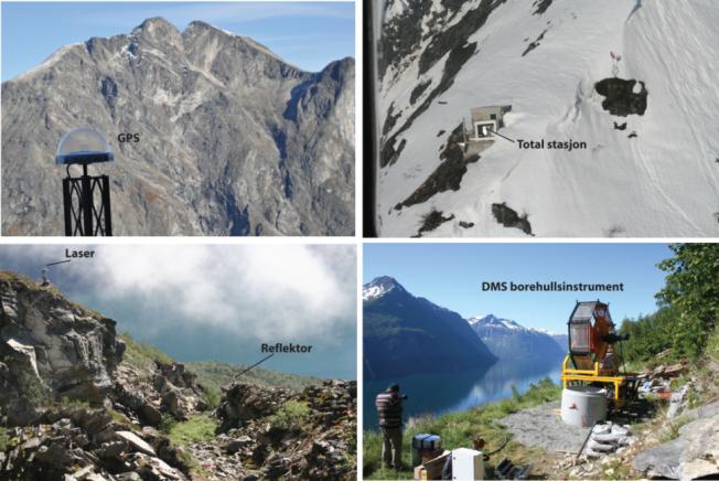 UTSTYRET: Her ser du eksempler på ulike typer måleutstyr som er plassert på høyrisiko-fjellene. Øverst til venstre er en GPS plassert på «Mannen». De tre andre bildene er fra fjellet «Åknes».