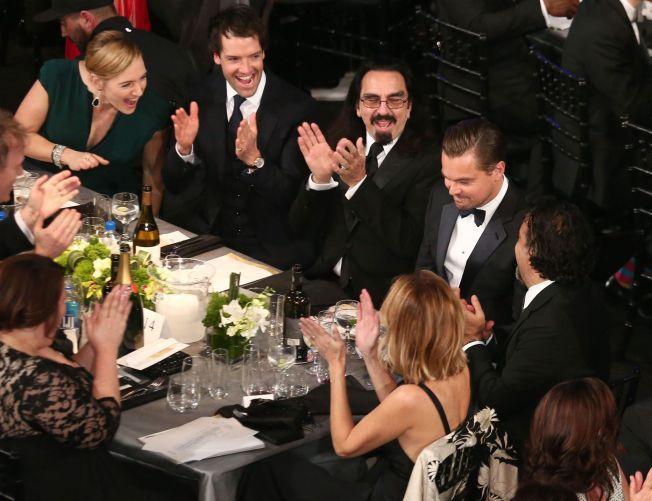 STOLT: Kate Winslet frydet seg da Leonardo DiCaprios navn ble ropt opp i helgen.