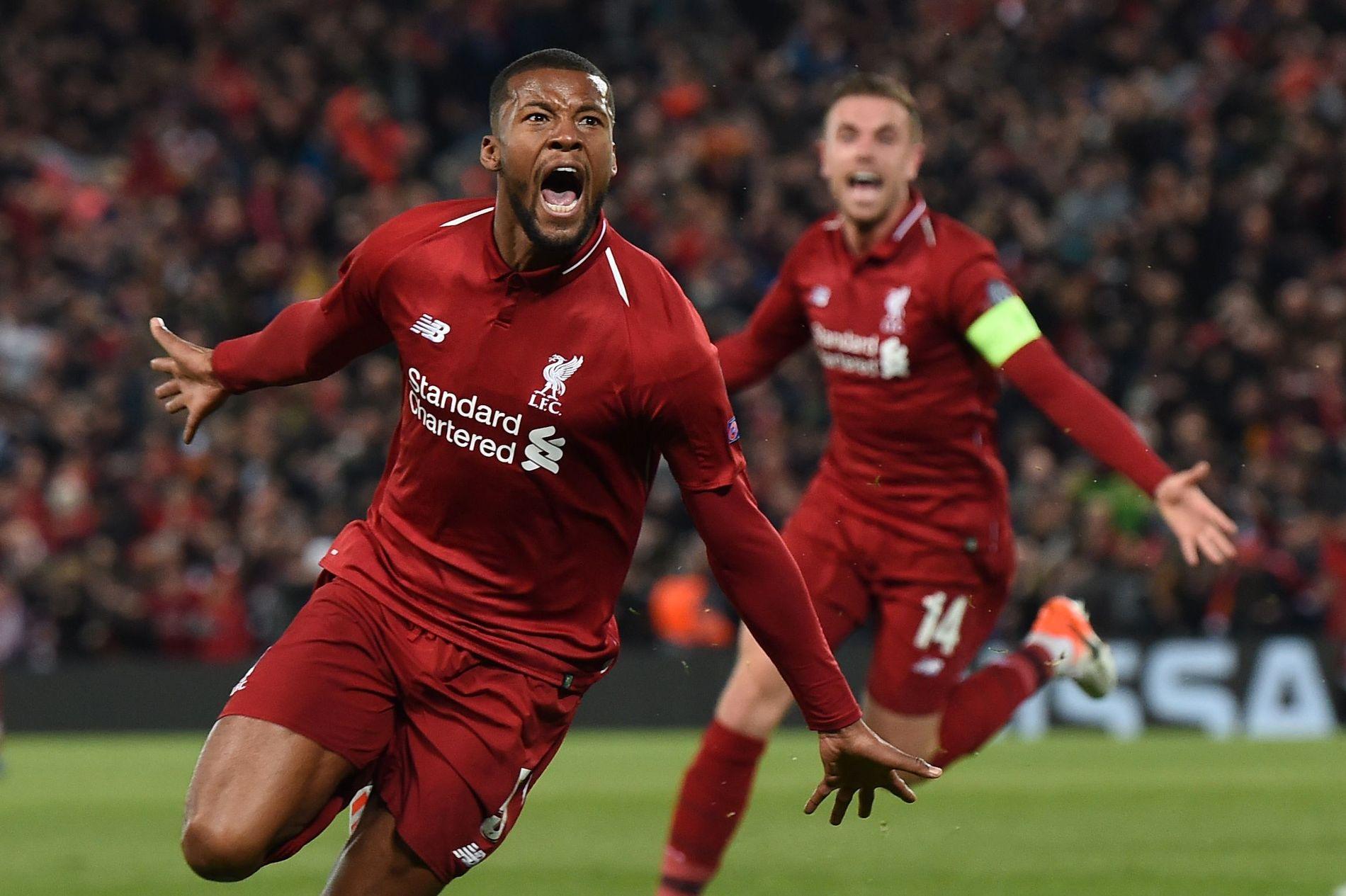 MER JUBEL?: Georginio Wijnaldum og Jordan Henderson feirer en av fire scoringer i Champions League-semifinalen mot Barcelona på Anfield.
