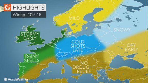 MILDT OG VÅTT: Amerikanske AccuWeather spår mild og våt norsk vinter, men mener at Russland og Sibir får snø, at De britiske øyer får mye storm og at Mellom-Europa får oppleve kuldebølger senvinters.